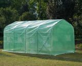 Outsunny Garden 4x2m Polytunnel Walk-in Greenhouse Round Gable Top Window Heat Shed W/Windows and Door-Green