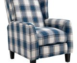 HOMCOM Polyester Upholstered Reclining Plaid Armchair w/ Retractable Footrest Blue