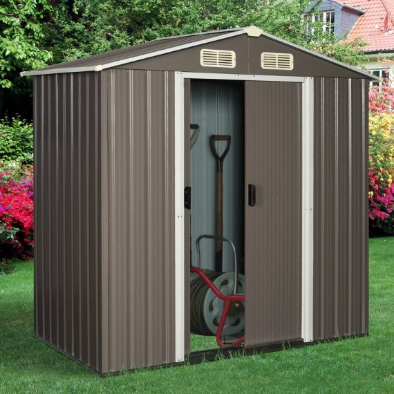 6x4ft Outsunny 8x6ft Corrugated Metal Garden Shed w/ Double Door Latch Window Sloped Roof Outdoor Equipment Tool Storage Garden Grey