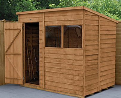 Forest Garden 7 x 5 ft Pent Overlap Dip Treated Shed with Assembly 5013053178447