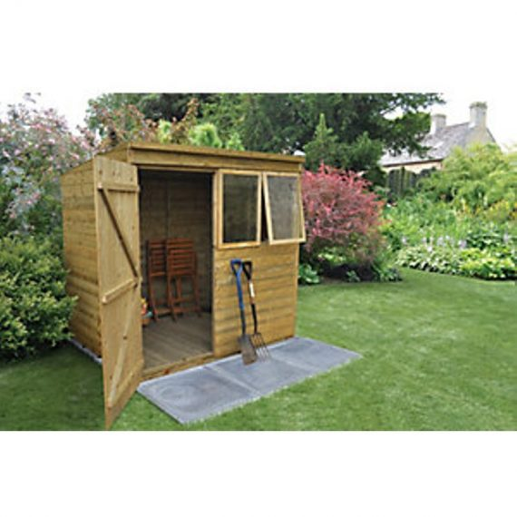 Forest Garden 7 x 5 ft Pent Tongue & Groove Pressure Treated Shed with Opening Windows 5013053153963
