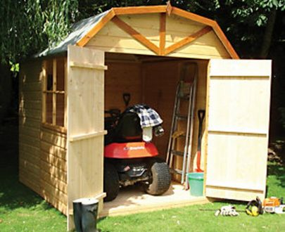 Shire 7 x 7 ft Barn-Style Curved Roof Double Door Garden Shed 5060490132624