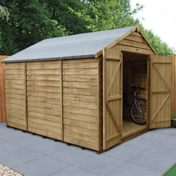Forest Garden 10 x 8 ft Large Apex Overlap Pressure Treated Double Door Windowless Shed 5013053177921