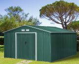 Outsunny 13ft x 11ft Outdoor Garden Roofed Metal Storage Shed Tool Box with Foundation Ventilation & Doors Deep Green