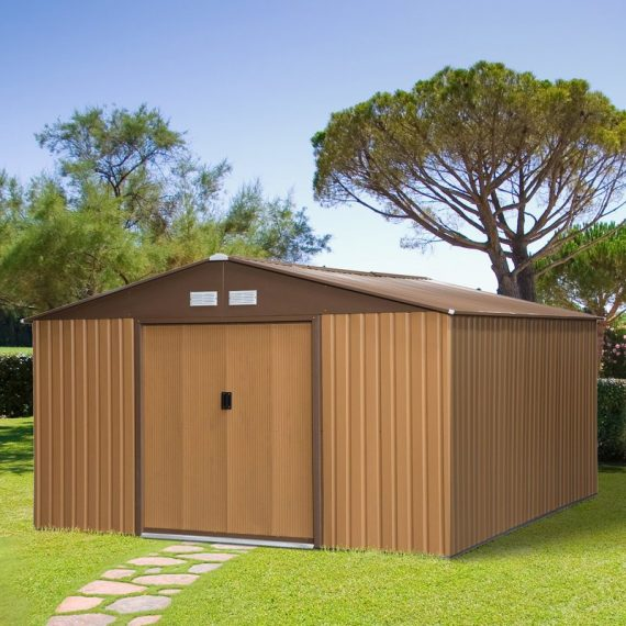 Outsunny 13ft x 11ft Outdoor Garden Roofed Metal Storage Shed Tool Box with Foundation Ventilation & Doors Yellow