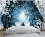 Peaceful Night Forest Moon Landscape DIY Wall Mural Print Art Painting Home Deco