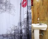 Shower Curtain Eiffel Tower Red Lip Waterproof Bathroom Home Decor With Hooks