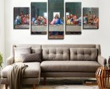 The last supper of Jesus Christ  5 Pcs Canvas Wall Art Print Frame Home Decor