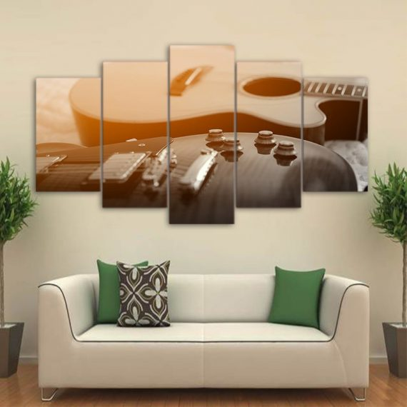 Art Classical Guitar Painting  5 Piece Canvas Art Wall Art Picture Home Decor