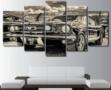 Ford 1965 mustang Old car Car 5 Piece Canvas Art Wall Art Picture Home Decor