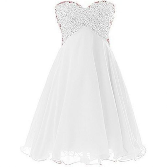 Beaded Short Empire Chiffon Prom Dress Homecoming Evening Party Gowns Ivory US 6