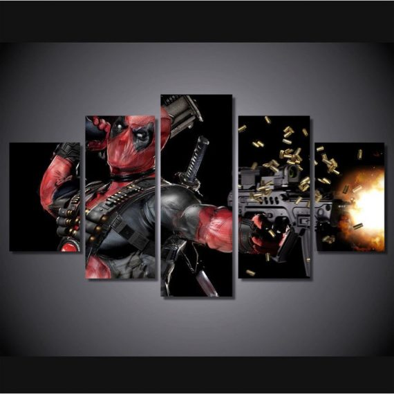 5 panel Deadpool Movie Poster Frame Poster Print Wall Art Home Decor Painting