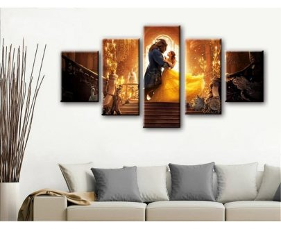Beauty and Beast movie poster  5 Piece Canvas Wall Art Painting Print Home Decor