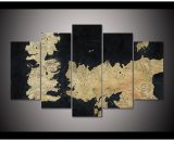 Game Of Thrones Abstract Map  5 Piece Canvas Wall Art Painting Print Home Decor