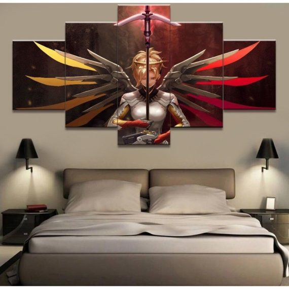 Overwatch Mercy Game Character 5 pcs canvas Frame Print Wall Art Home Decor
