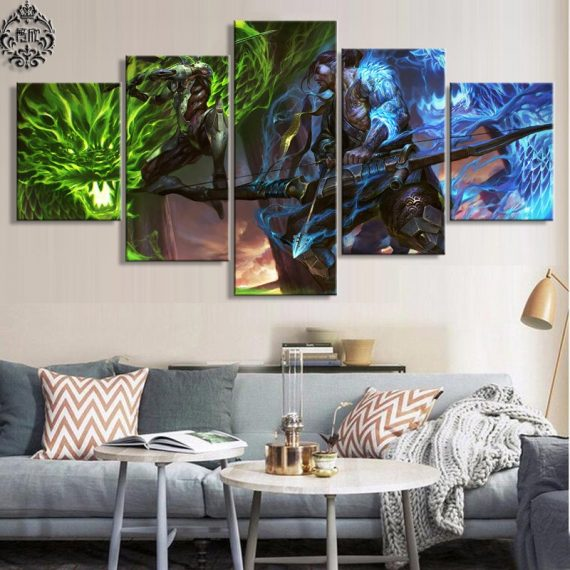 Overwatch Genji & Hanzo Game  5 Piece Canvas Wall Art Painting Print Home Decor