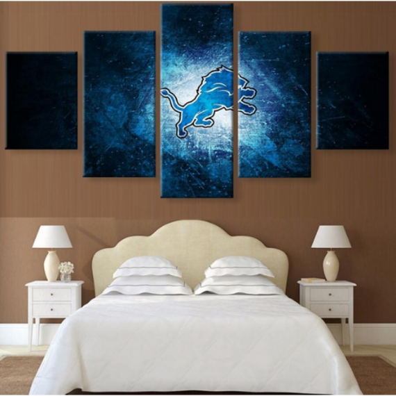 5 Panel  Detroit Lions Painting HD Printed On Canvas Wall Art Picture Home Décor
