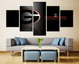 5 Panels University Of Georgia Team Rugby Canvas Art Wall Art Picture Home Decor