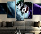 5 Panels Why So Serious The Dark Knight Joker Canvas Wall Art Picture Home Decor