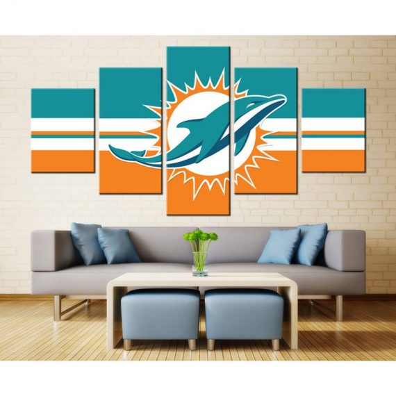 5 Panel Canvas Miami Dolphins Framed Prints Wall Art Home Decor Painting