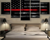Thin Red Line Flag Firefighter  5 Piece Canvas Art Wall Art Picture Home Decor
