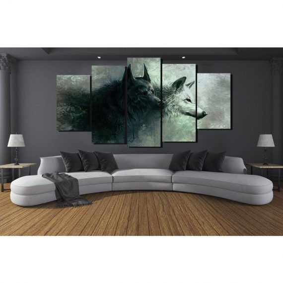 2 Black & White Wolf 5 Piece Canvas Wall Art Sets Framed Canvas Home Decor