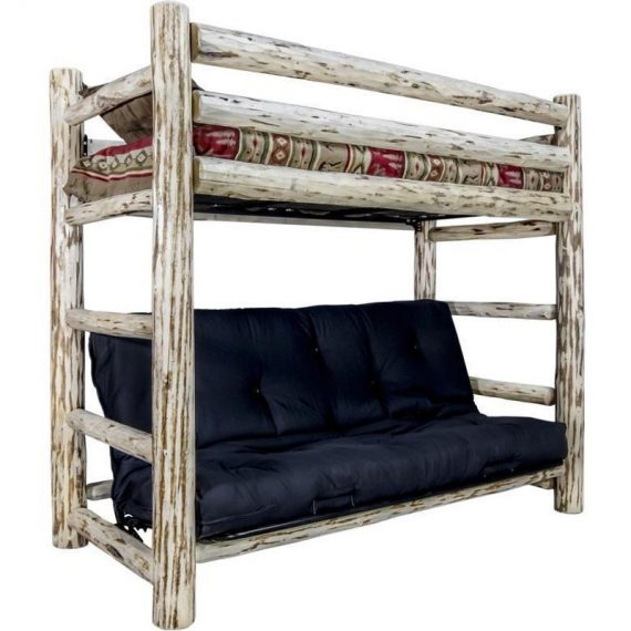Log TWIN OVER FUTON Bunk Bed Amish Made Rustic Log Cabin Bedroom Furniture  MWTFBB