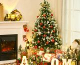 HOMCOM HOMCM 5ft Artificial Snow-Flocked Pine Tree Holiday Home Christmas Decoration with Red Berries