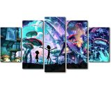Cartoon Wolrd's Rick And Morty  5 Piece Canvas Art Wall Art Picture Home Decor
