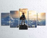5 Pcs Zelda Breath Of The Wild Painting Print Canvas Wall Art Picture Home Décor