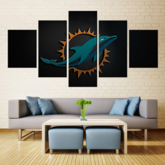 5 Pieces Miami Dolphins Sports Rugby Canvas Art Wall Art Picture Home Decor