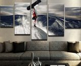 5 Pcs Snowboarding Snow Board Painting Print Canvas Wall Art Picture Home Décor