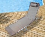 Outsunny Garden Lounger Recliner Adjustable Sun Bed Chair-Coffee