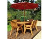 Charles Taylor 6 Seat Garden Table Set With Burgundy Parasol & Base 2000050176692