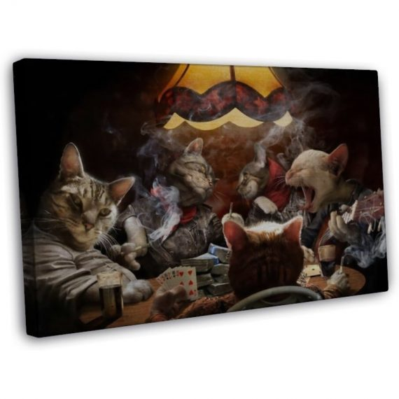 Cats Playing Poker Funny Art Home Wall Decor 20x16 FRAMED CANVAS Print  H512240