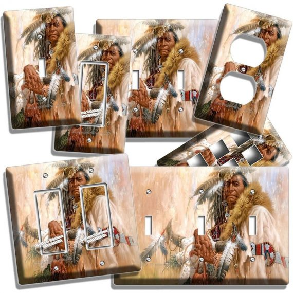 NATIVE AMERICAN INDIAN CHIEF LIGHT SWITCH OUTLET WALL PLATE ROOM ART HOME DECOR