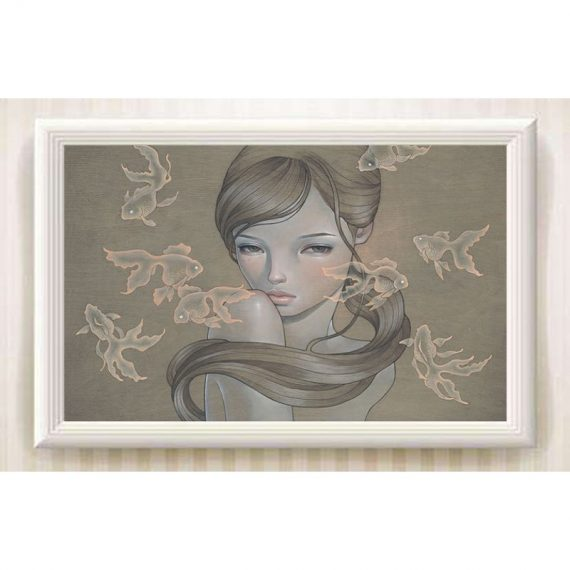 "Fantasy Art Print On Canvas""Audrey Kawasak Charm Girl""Oil Painting Home Decor"